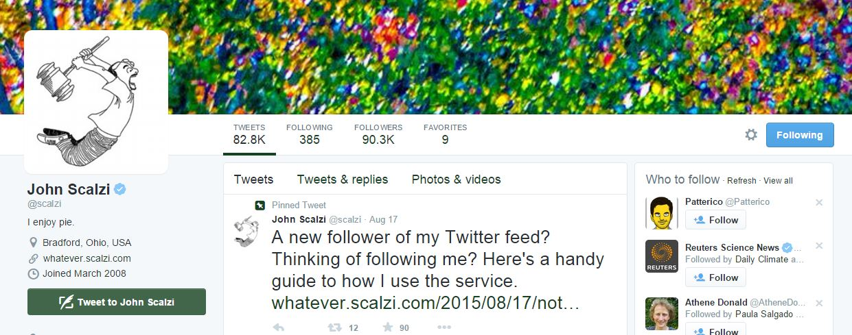 John Scalzi Twitter feed