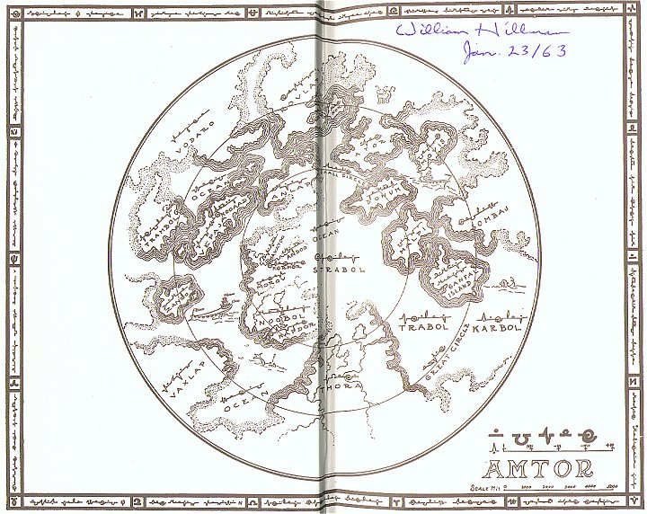 More details 1934 map of Amtor drawn by Edgar Rice Burroughs for the end-papers of his Venus books (via Wikipedia)