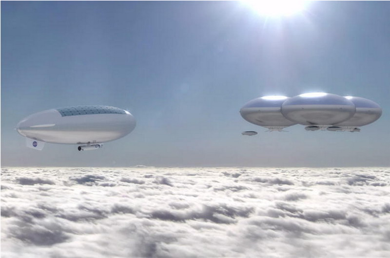 Artists rendering of a NASA Cloud City on Venus (credit: NASA via Wikipedia)